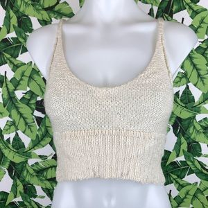 Pins and Needles UO Cream Knit Crop Top